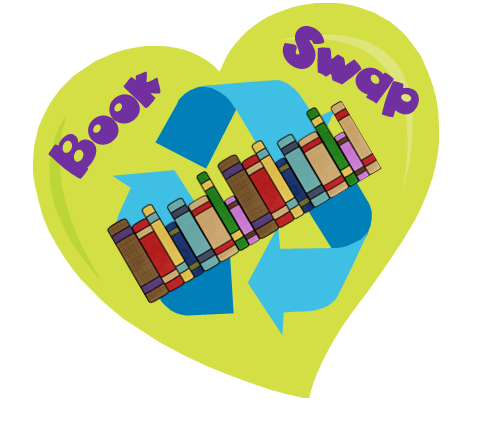 Book swap heart with books and recycle arrows