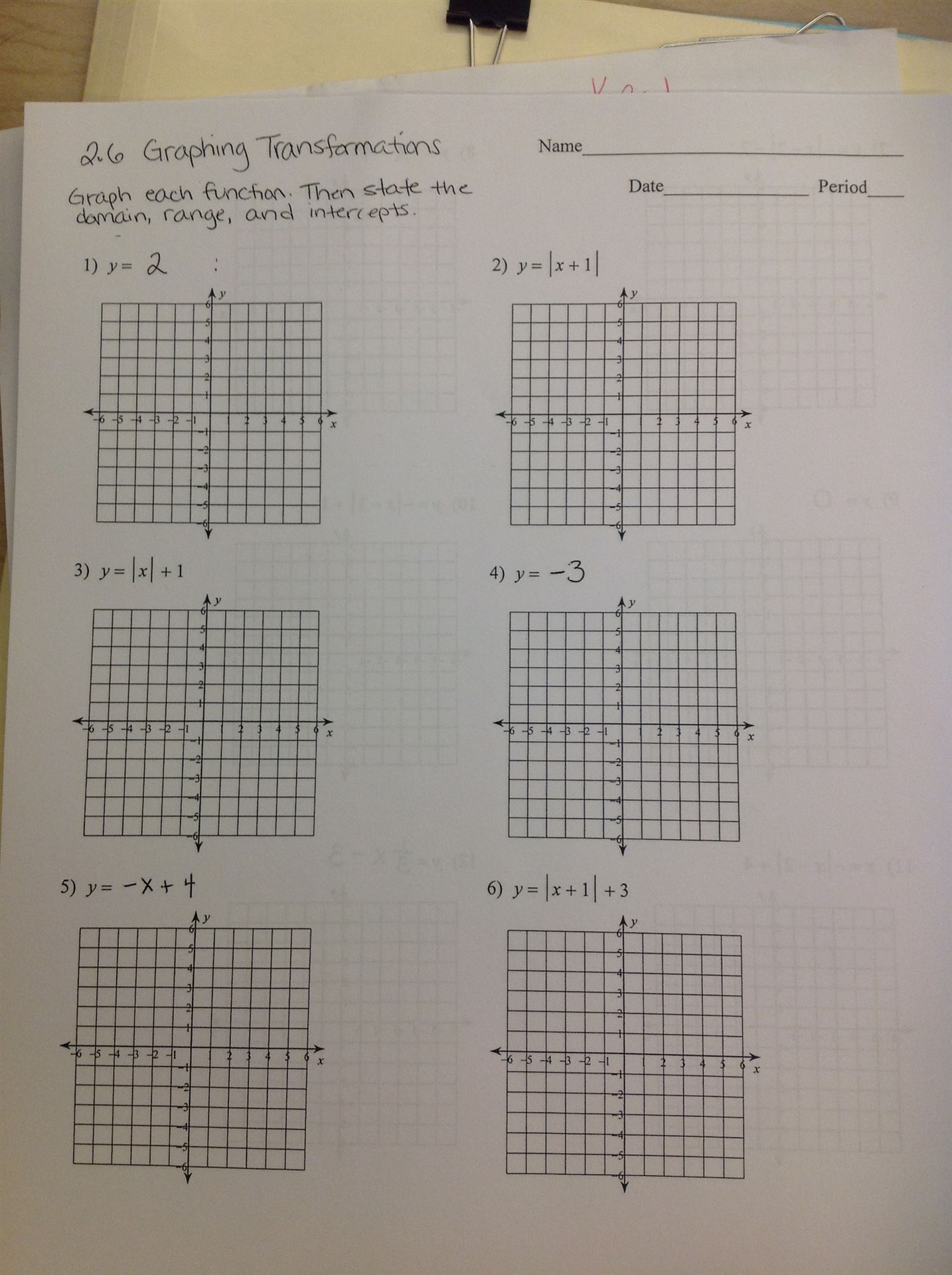 Lyndhurst School District – Graphing Transformations Worksheet